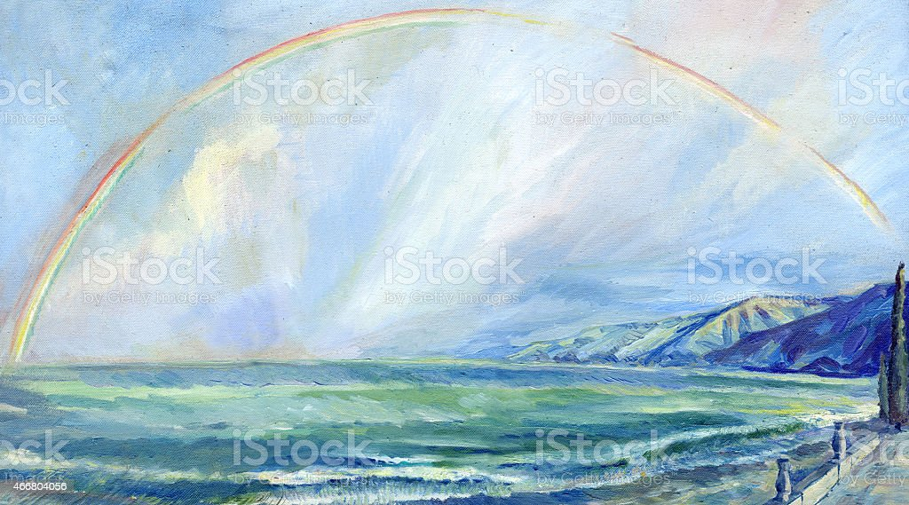 storm at sea with a rainbow vector art illustration