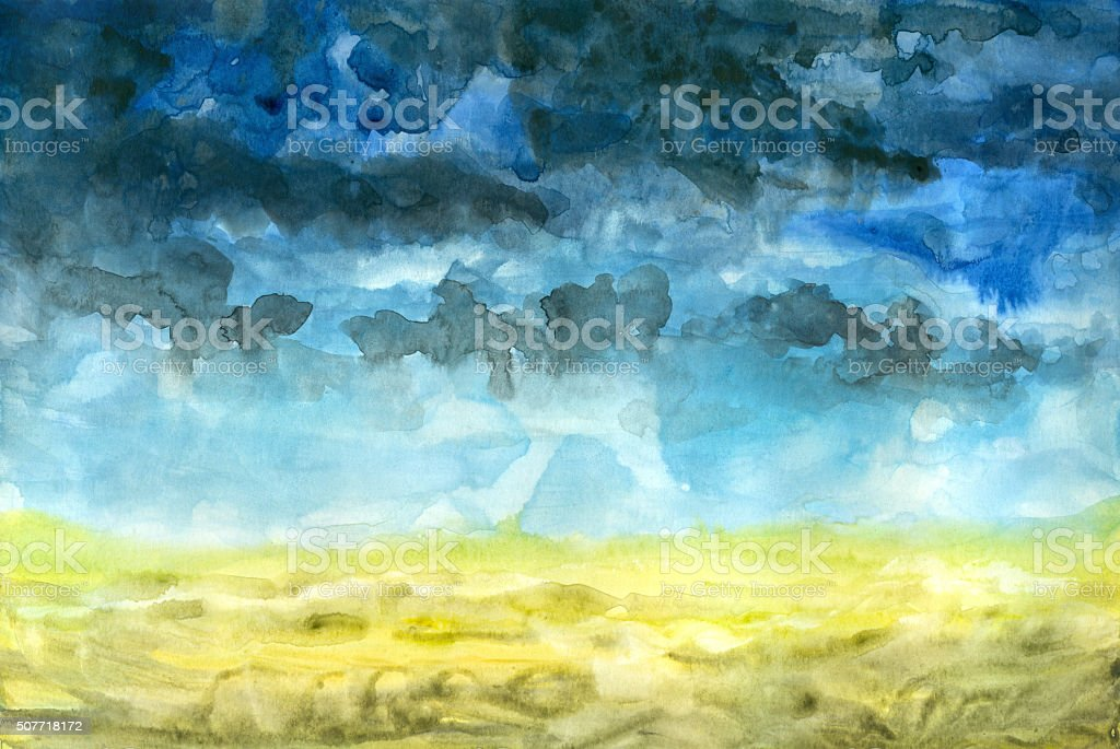 storm clouds over field vector art illustration