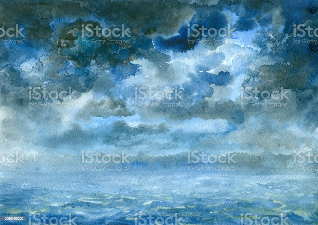 storm clouds, watercolor painting vector art illustration