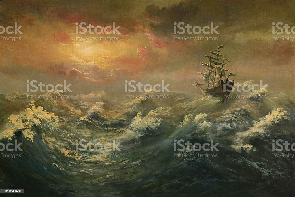 Storming ocean vector art illustration