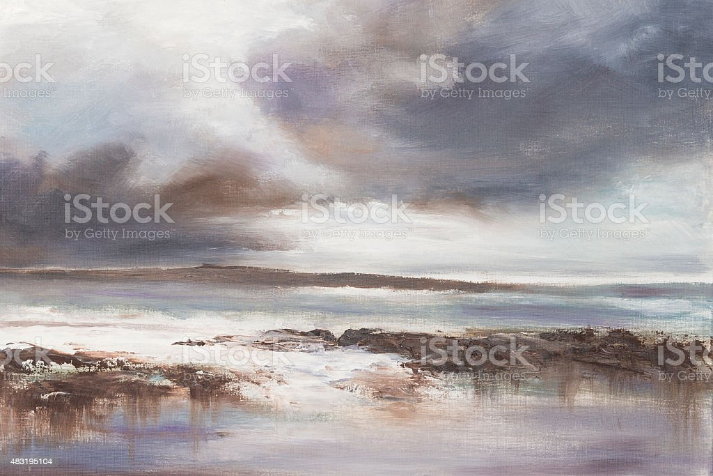 Stormy Beach Seascape. vector art illustration