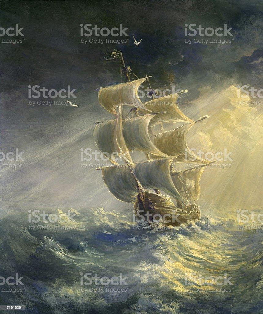 Stormy Sea vector art illustration