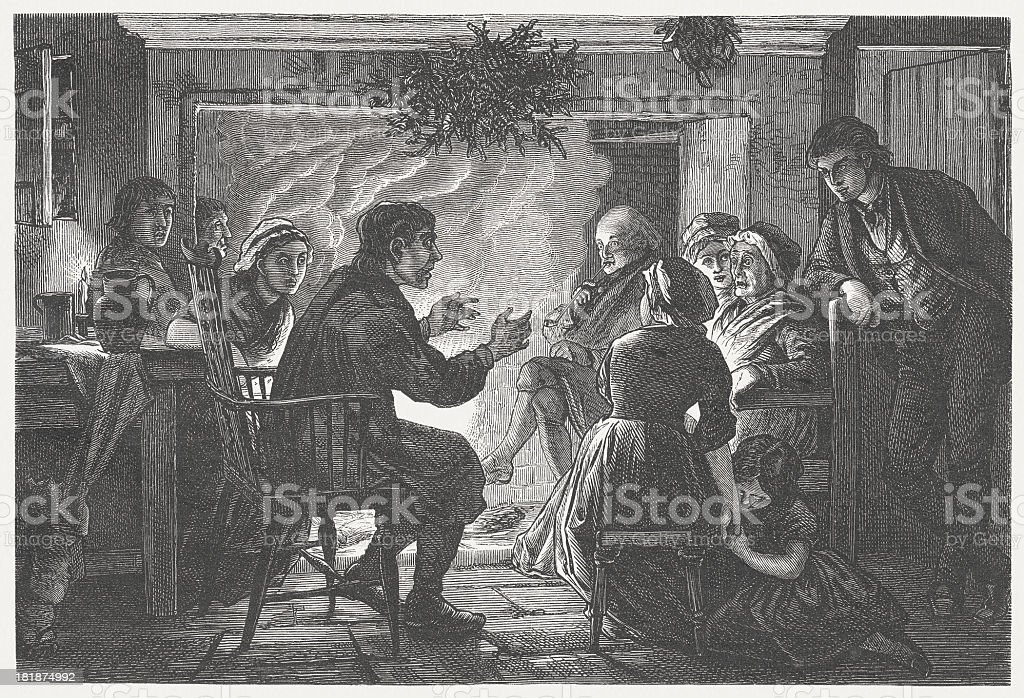 Storyteller in the past, wood engraving, published in 1872 vector art illustration