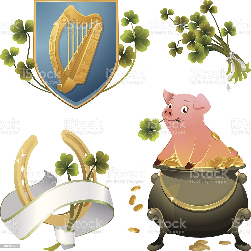 St.Patrick's Day Vector Illustrations with Clover and Irish Harp royalty-free stock vector art