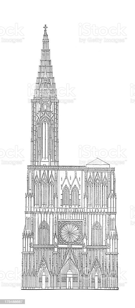 Strasbourg Cathedral, France | Antique Architectural Illustrations royalty-free stock vector art