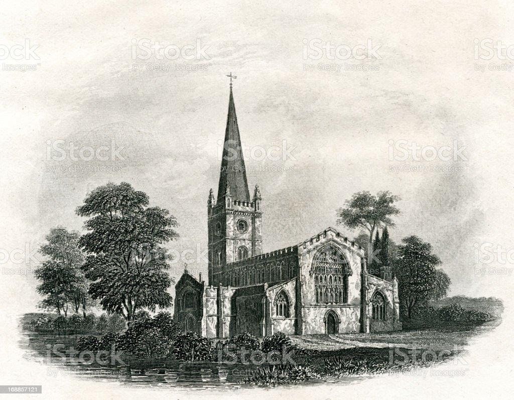 Stratford Upon Avon Church royalty-free stock vector art