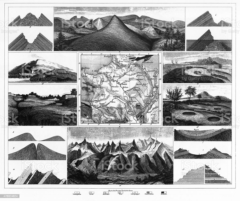 Stratification in Mountains and Basins; Fissures and Craters Engraving vector art illustration