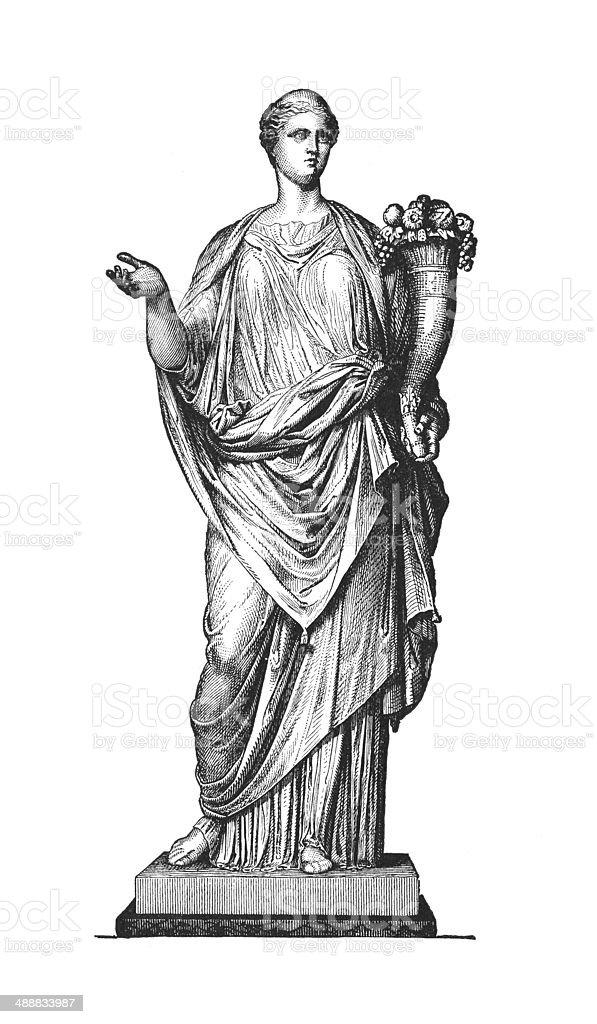 Stratue of a Roman Matron (antique engraving) vector art illustration