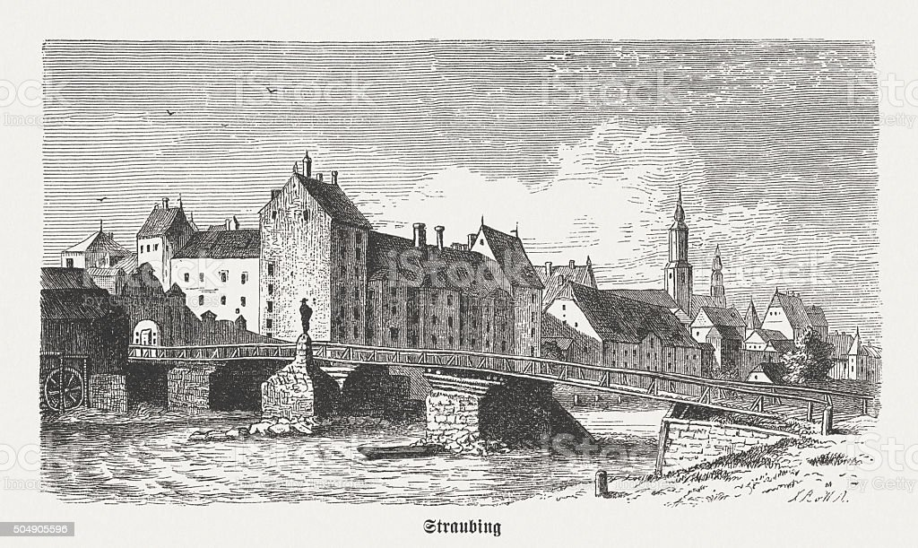 Straubing in the 15th century, wood engraving, published in 1873 vector art illustration