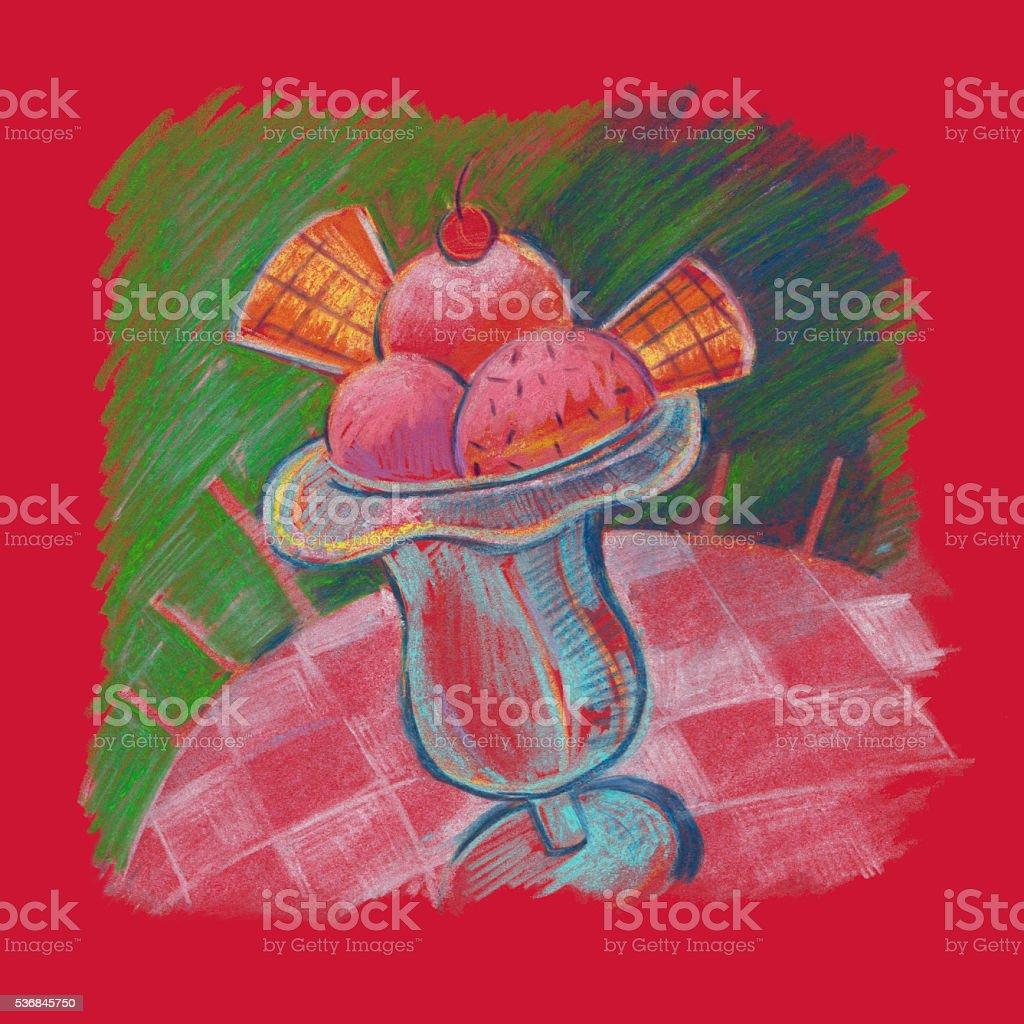 Strawberry ice cream still life vector art illustration