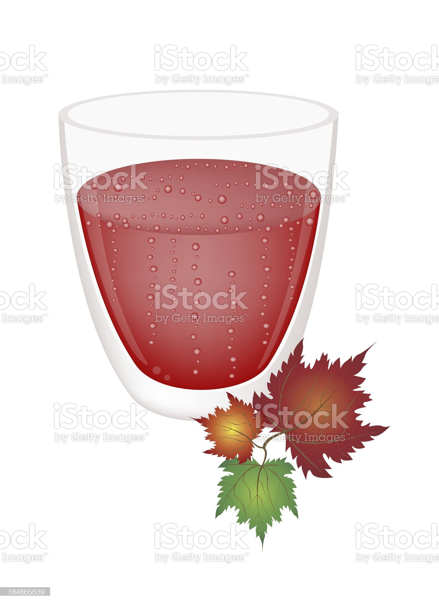Strawberry Juice in Glass with Colorful Maple Leaves royalty-free stock vector art