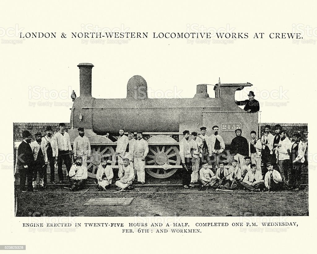 Stream Train built in, Crewe Locomotive Works, 1892 vector art illustration