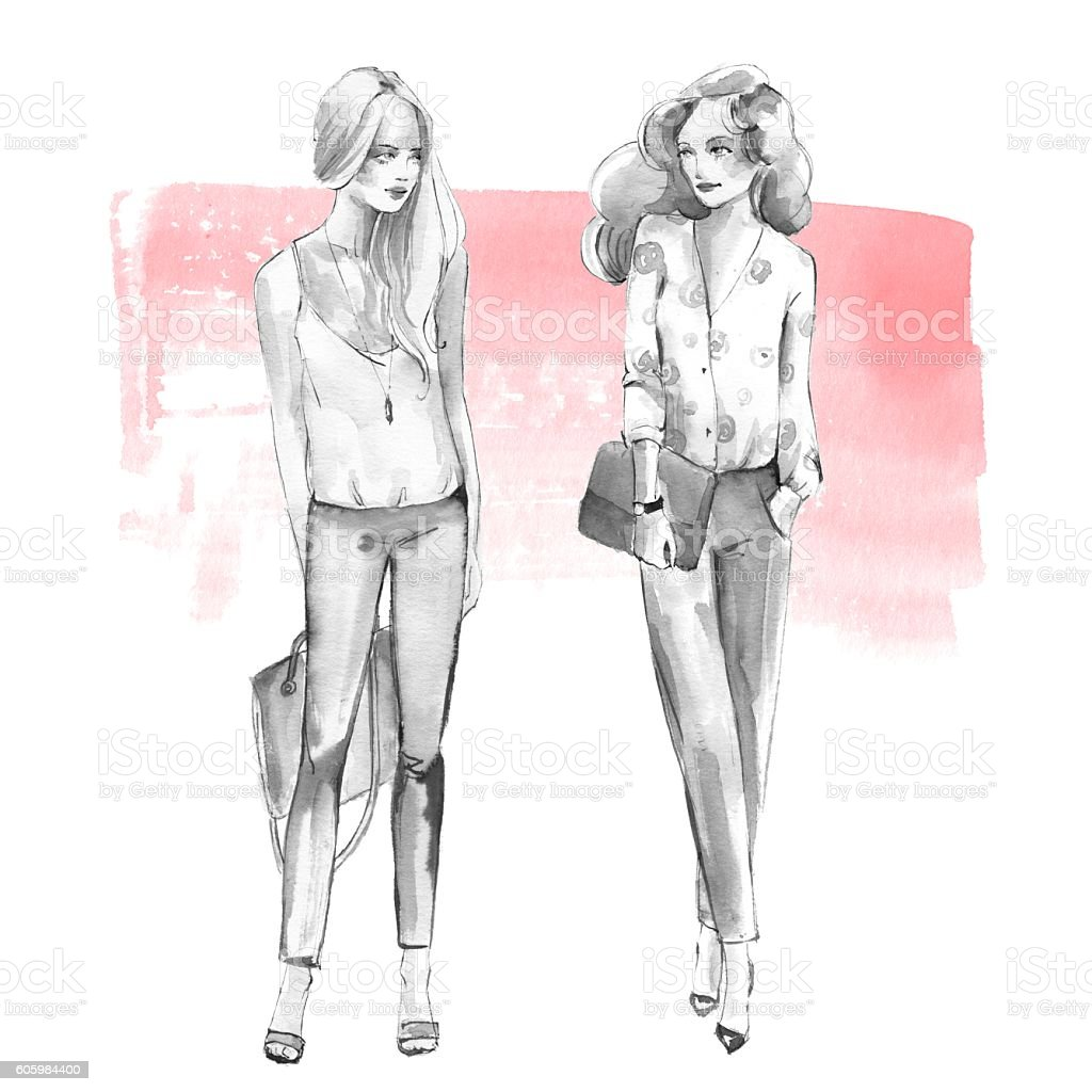 Street fashion 1. Girls. Black and white watercolor vector art illustration