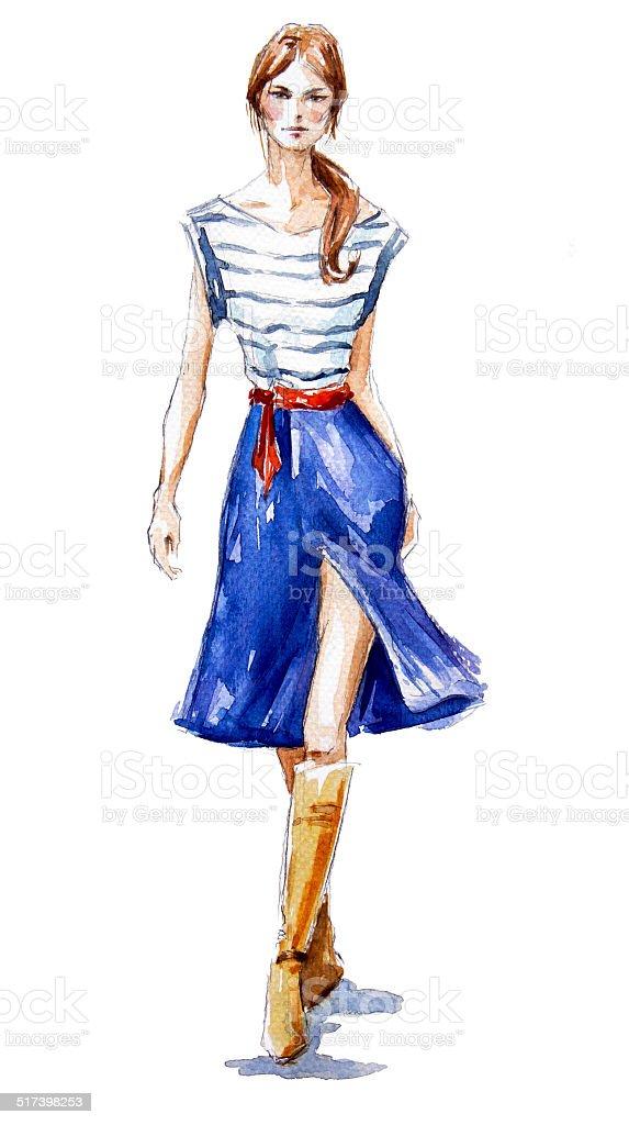 street fashion. a girl walking. Summer look. vector art illustration