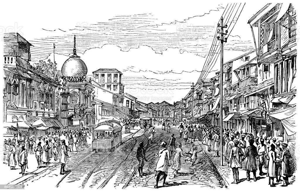 Street in Bombay (Mumbai) - Victorian engraving vector art illustration