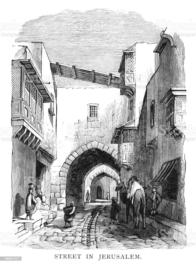 Street in Jerusalem - Victorian engraving royalty-free stock vector art