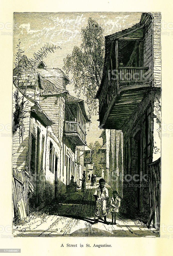 Street in St. Augustine, Florida royalty-free stock vector art