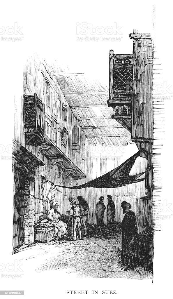 Street in Suez, Egypt - Victorian engraving royalty-free stock vector art