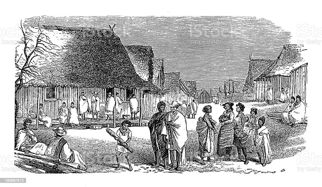 Street in Toamasina, Madagascar (antique wood engraving) royalty-free stock vector art