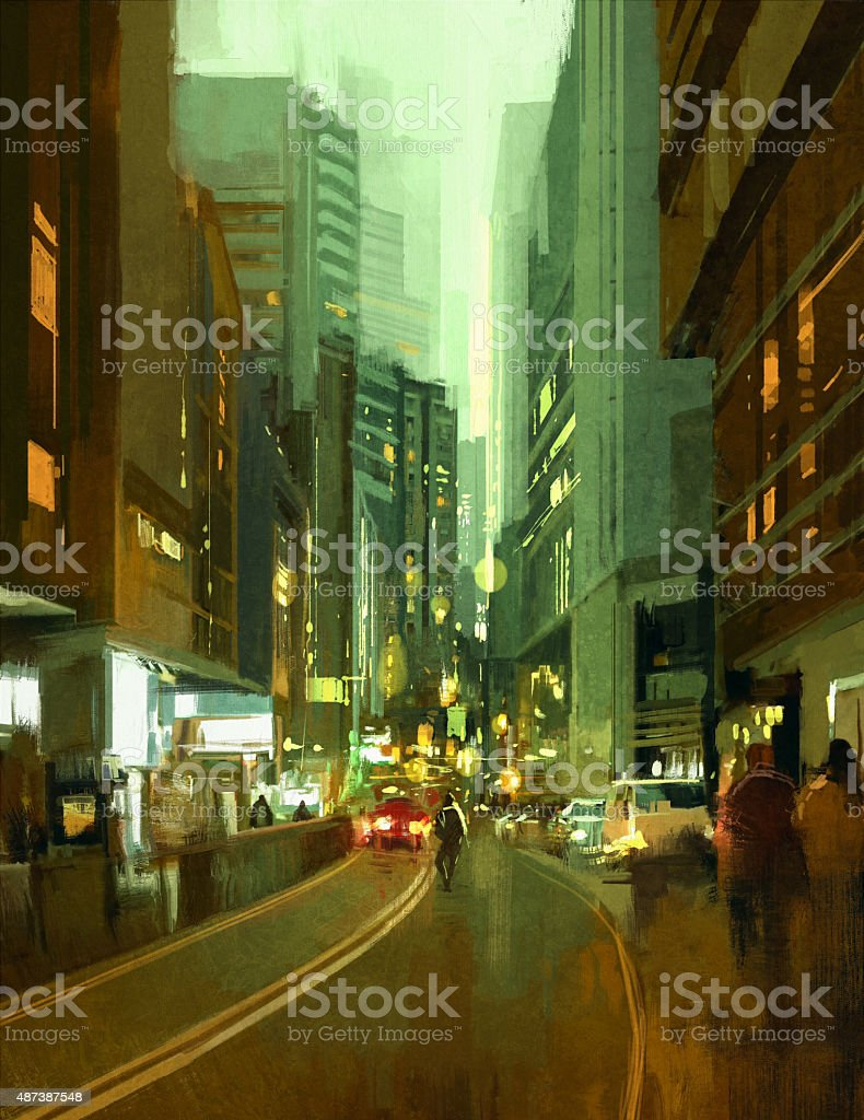 street in urban city at evening vector art illustration