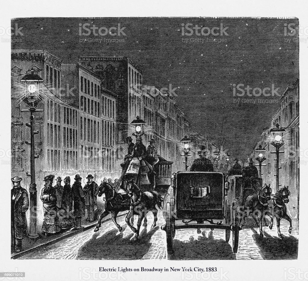 Street Lighting by Electric Lights Victorian Engraving, 1883 vector art illustration