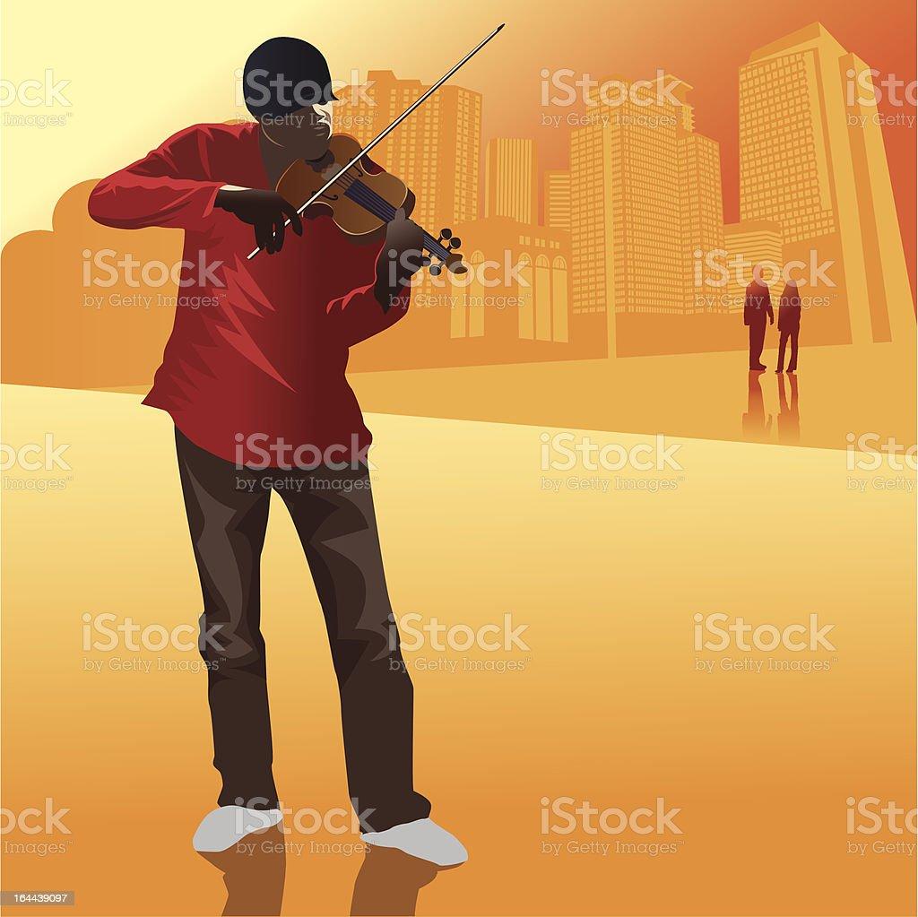 Street Musician vector art illustration