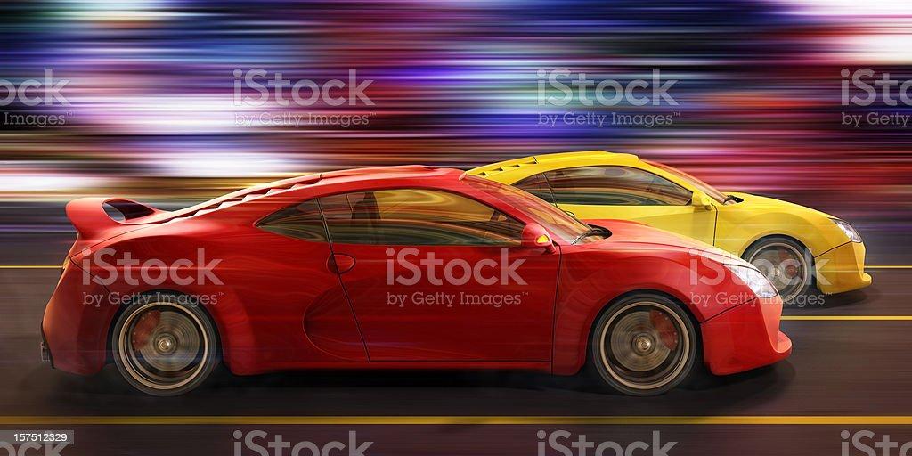 street race vector art illustration
