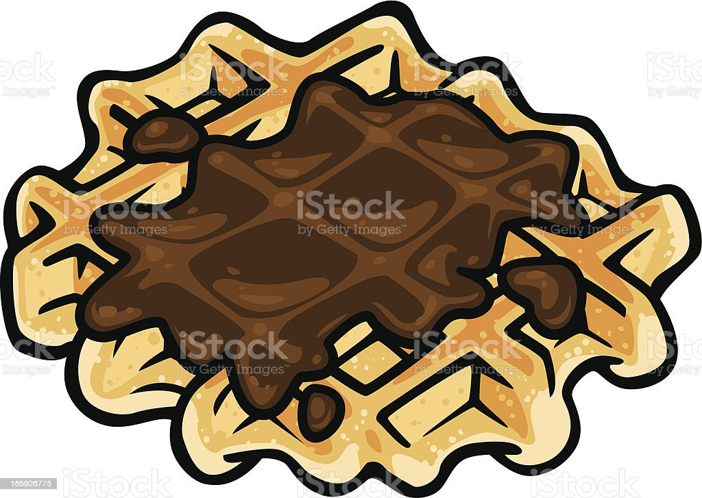 street waffle with chocolate vector art illustration