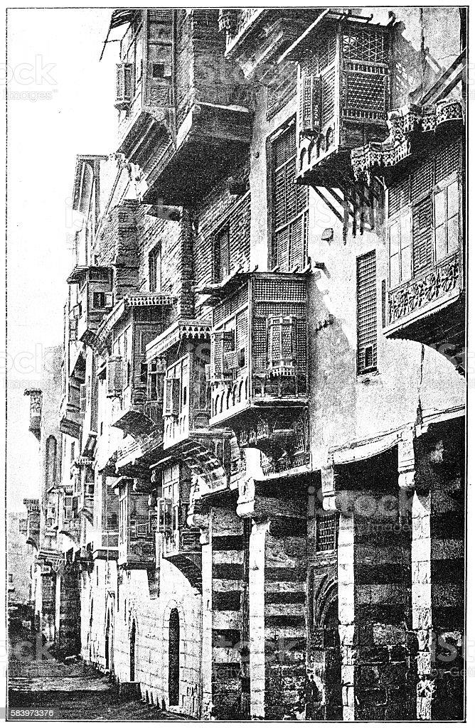 Streets of Cairo vector art illustration