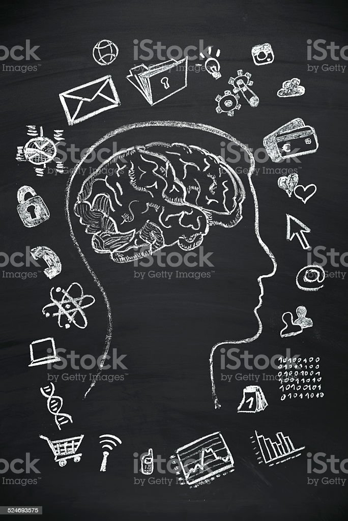 stressed brain vector art illustration