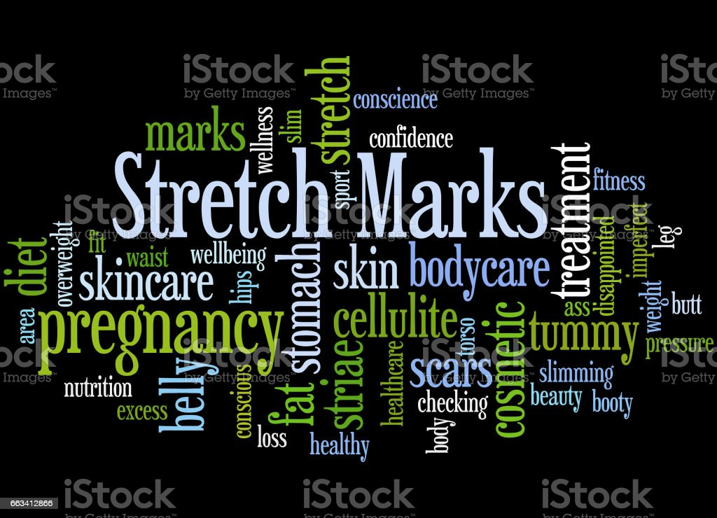 Stretch Marks, word cloud concept 3 vector art illustration