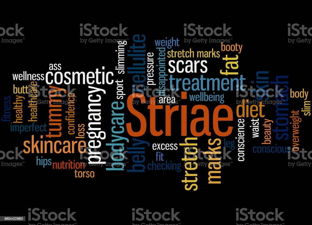 Striae, word cloud concept 7 vector art illustration