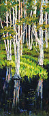 Stringy Bark Acacia Eucalyptus Trees in Wetlands Painting