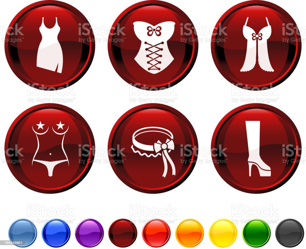 Stripper clothing and attire royalty free vector icon set vector art illustration