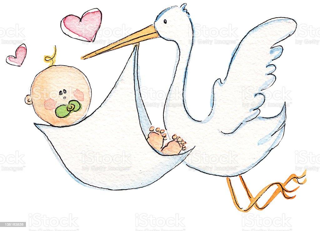 Strok deliverying baby vector art illustration