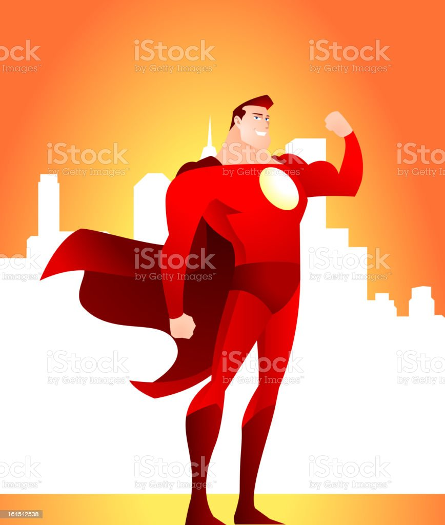 Strong Superhero Standing Smiling with the city behind him. vector art illustration
