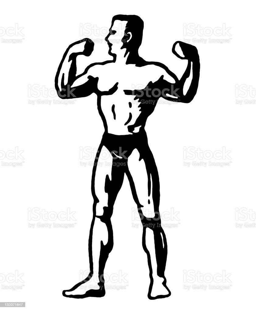 Strongman Flexing vector art illustration