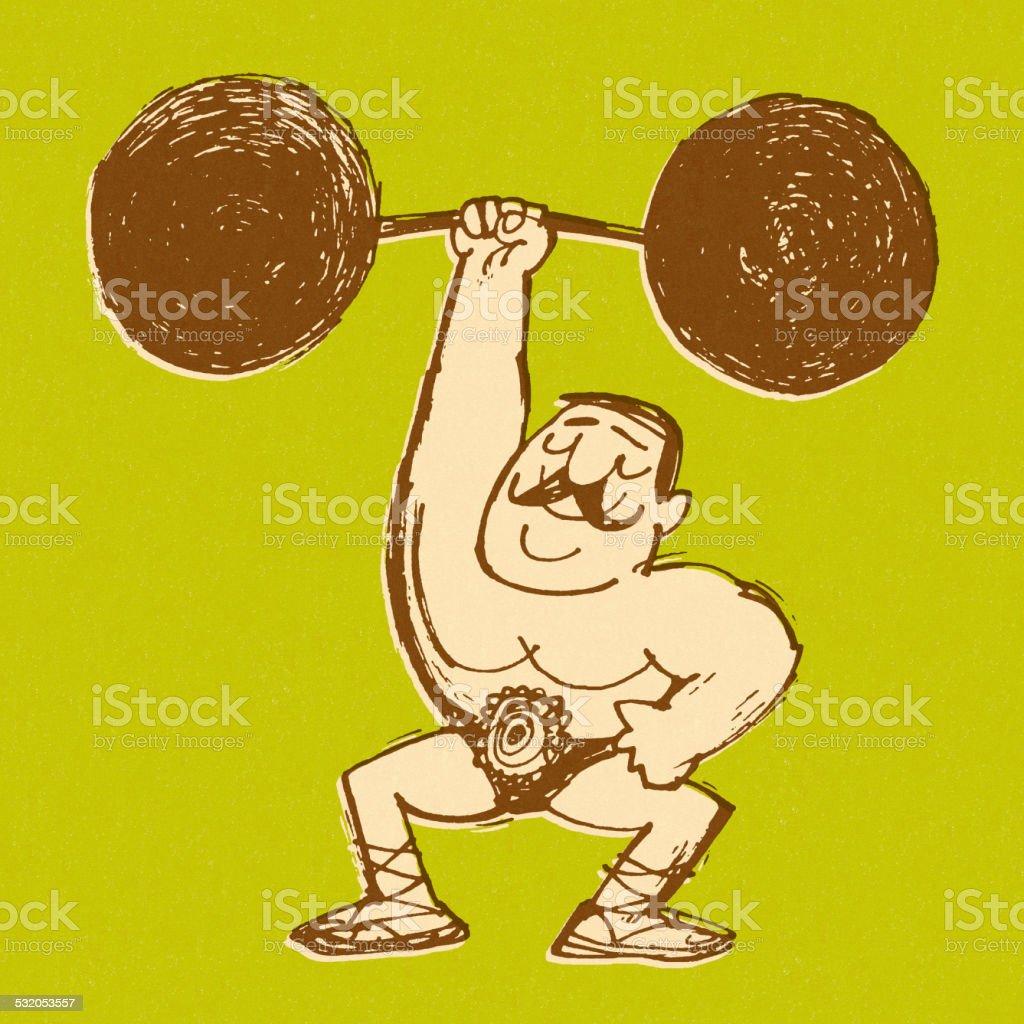 Strongman Lifting Barbell vector art illustration
