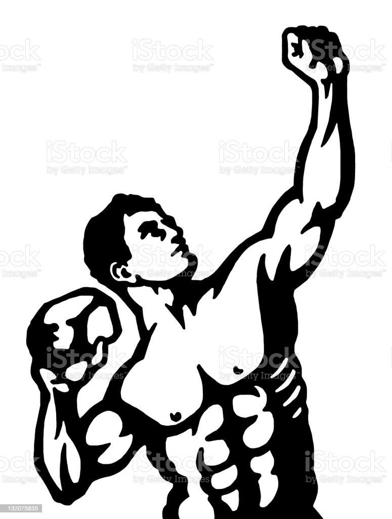 Strongman Posing With Rock royalty-free stock vector art