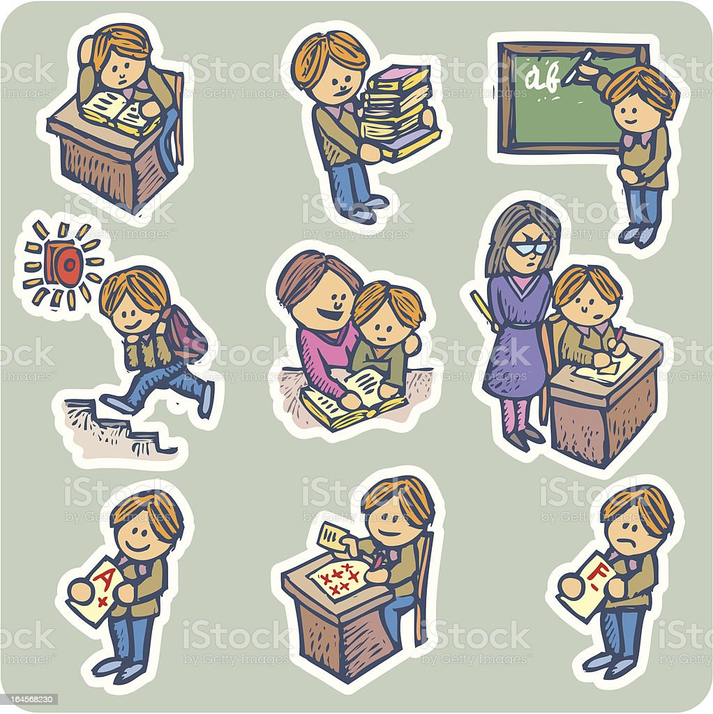 Student situations royalty-free stock vector art