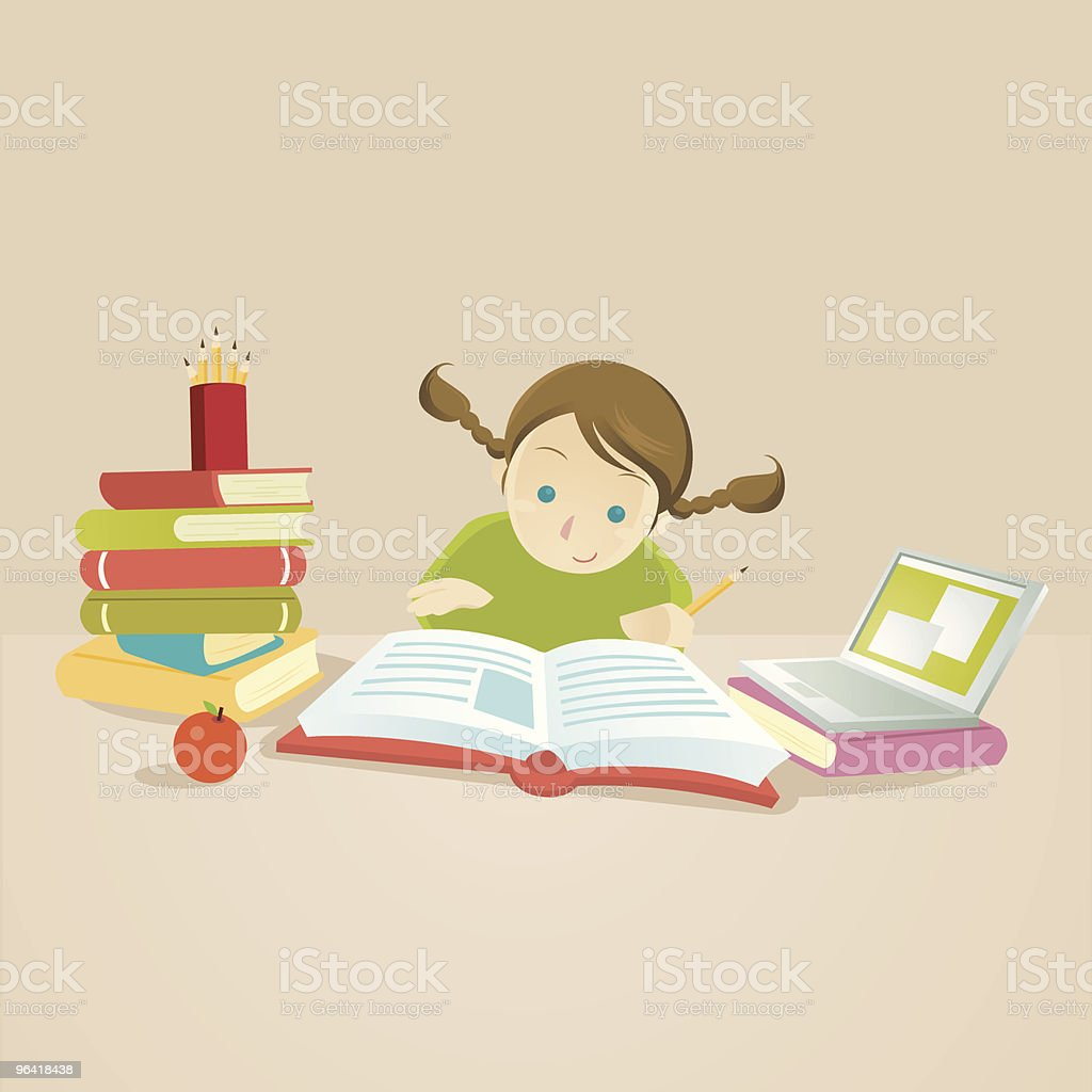 Study Hard: Smart Child reading a book vector art illustration
