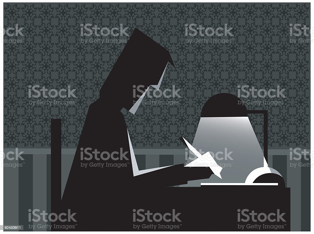 studying at night vector royalty-free stock vector art