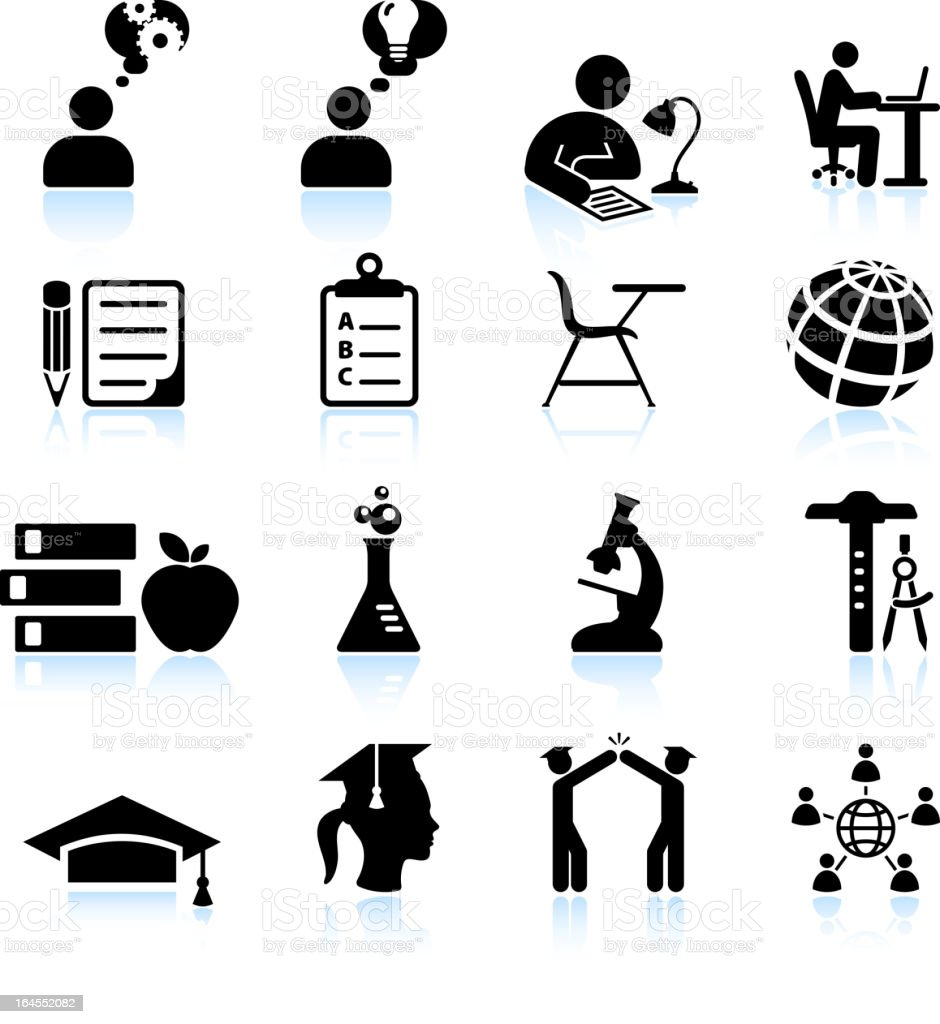 Studying for college success black and white vector icon set vector art illustration