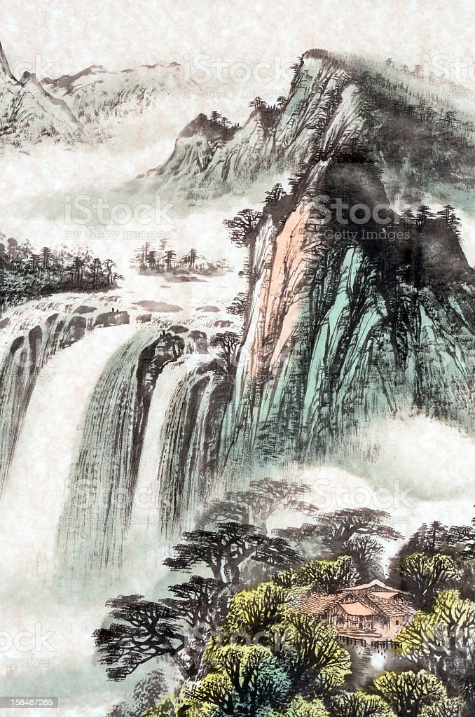 A stunning colored sketch of a waterfall landscape vector art illustration