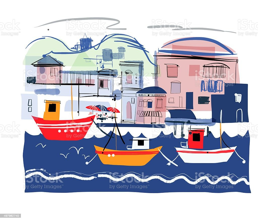 Stylised drawing of fishing boats and old buildings vector art illustration