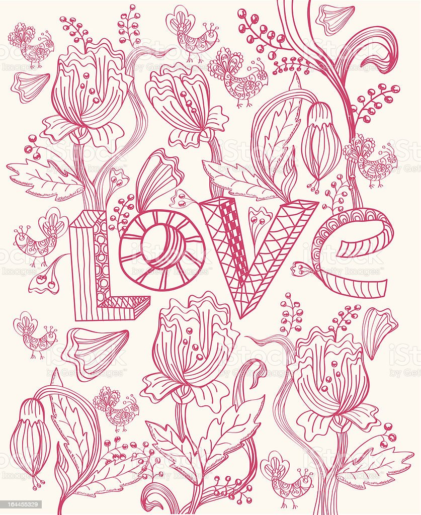 Stylish pink floral background with LOVE royalty-free stock vector art