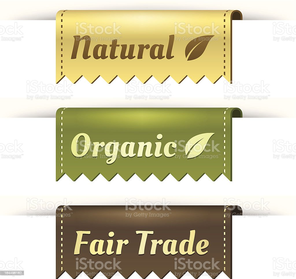 Stylish Tag Labels for Natural, Organic, and Fair Trade vector art illustration
