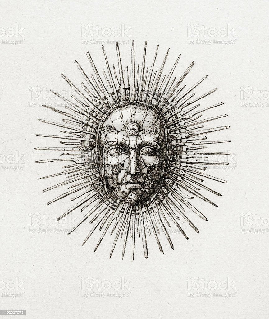 Stylistic drawing of a man's face representing the sun vector art illustration