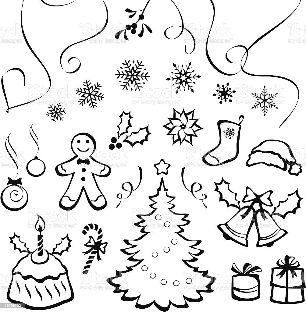 Stylized Christmas elements royalty-free stock vector art