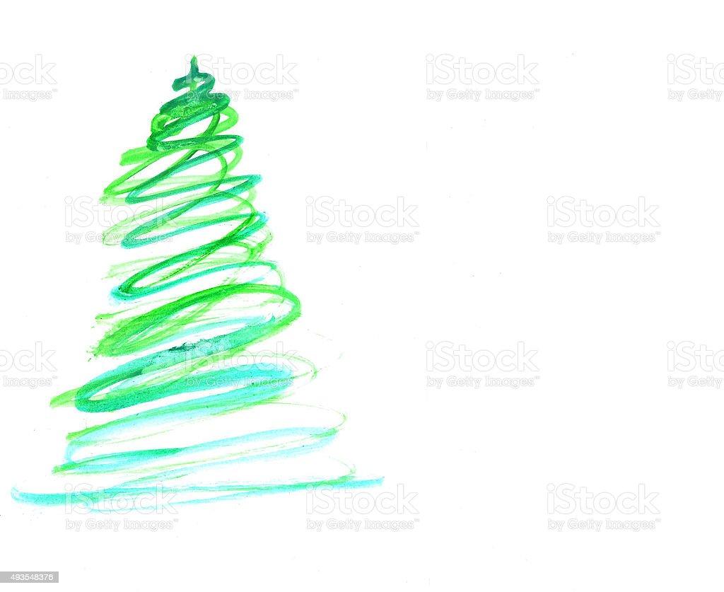 Stilizzato con decorazioni albero di Natale colorato illustrazione royalty-free